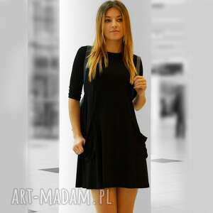 sukienkaawełna tuniki czarne tunika z dużymi kieszeniami