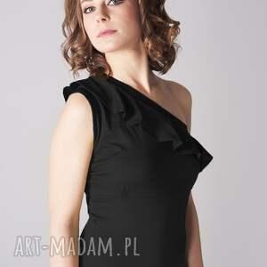 handmade ubrania kombinezon czarny z falbanką