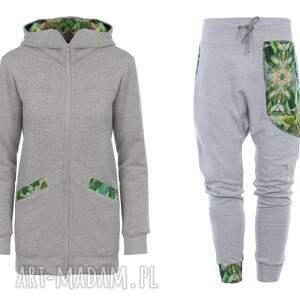 komplet damski ubrania zielone dres jungle - szary - bluza
