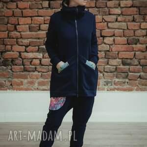 niebieskie ubrania dres damski mosaic - granatowy