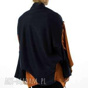ręcznie wykonane ubrania wełniana narzutka damska kardigan |