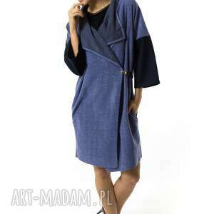 niebieskie ubrania wełniana narzutka damska kardigan |