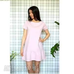 gustowne ubrania dzianina sukienka z falbaną s/m/l/xl pudrowy