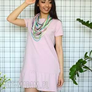 eko sukienka z falbaną s/m/l/xl pudrowy