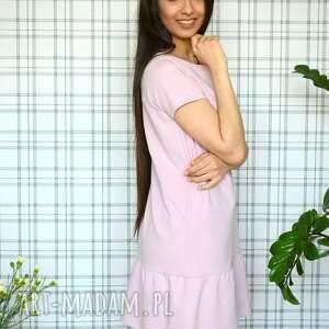 gustowne eko sukienka z falbaną s/m/l/xl pudrowy
