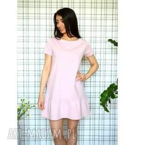 eko ubrania sukienka z falbaną s/m/l/xl pudrowy