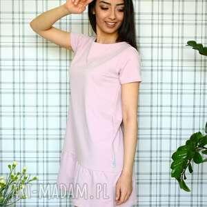 ubrania eko sukienka z falbaną s/m/l/xl pudrowy