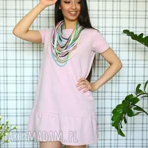 Sukienka z falbaną s/m/l/xl pudrowy róż - eko