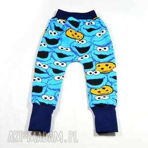 niebieskie bawełniane spodnie 56 -116 ciasteczkowy potwór