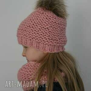 ubranka czapka ciepły wełniany komplet