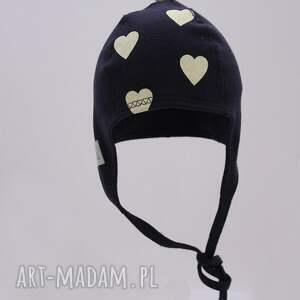 czapka pilotka wiązana - granatowa