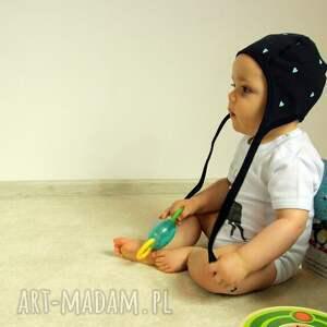 niemowlę ubranka czapka pilotka wiązana - szara