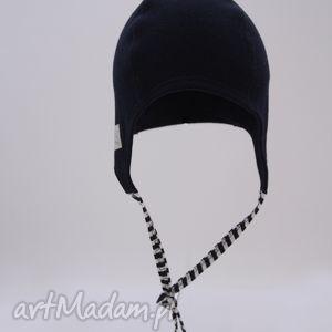 niebieskie marynarska czapka pilotka wiązana - granatowa