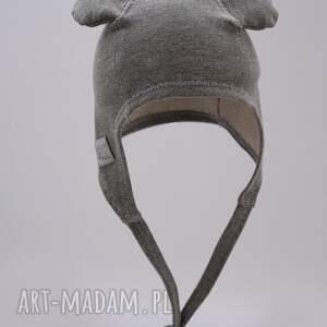 szare uszy czapka pilotka wiązana - szara