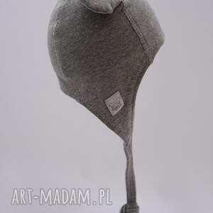 hand made uszy czapka pilotka wiązana - szara
