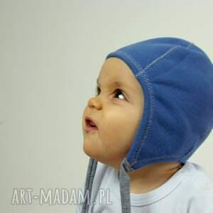 ubranka zima czapka pilotka wiązana - niebieska