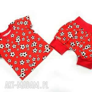 hand made szorty czerwone piłki krótkie spodenki