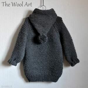 wełniany ubranka długi sweter z kapturem