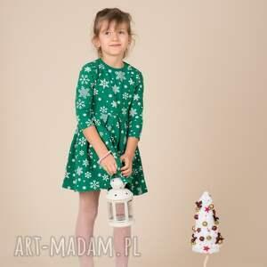 święta prezenty rozkloszowana dziecięca sukienka śnieżynka