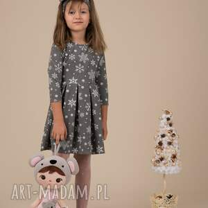 świąteczne prezentyDziecięca sukienka ŚNIEŻYNKA Grafitowa!! święta śnieżynki