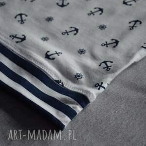 bluzka granatowe kotwice biała koszulka