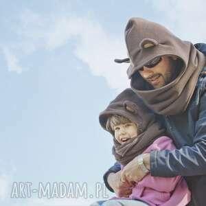hand made ubranka miś komin z kapturem dla dziecka -