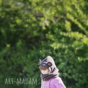 hand made ubranka misio komin z kapturem dla dziecka - miś