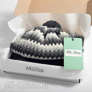 hand-made ubranka wełniana komplet alpejski ciemny merynos