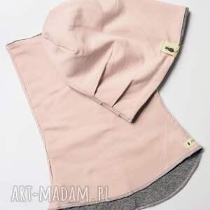 trendy ubranka czapka komplet & komin pudrowy róż