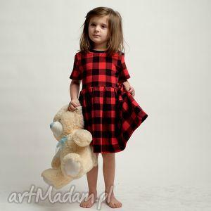 czerwone kratka komplet sukienek