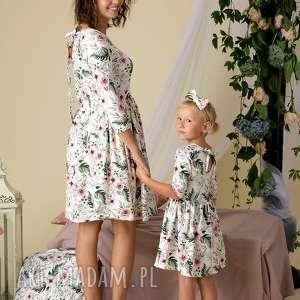 kwiaty zielone komplet sukienek lea dla mamy