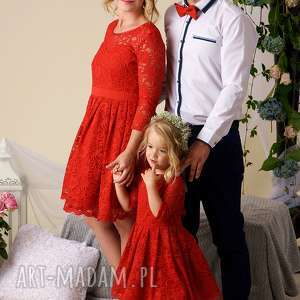 koronkowe różowe komplet sukienek julia dla mamy
