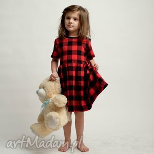 czerwone ubranka kratka komplet sukienek