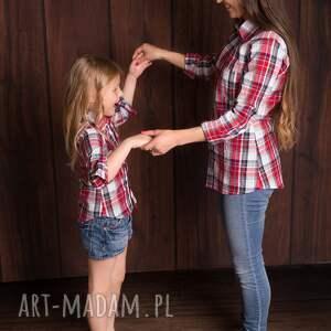 modne mama i-córka koszula w kratę dziecięca