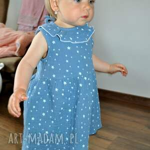 niebieskie muślinowa sukienka w gwiazdki