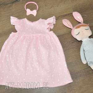 różowe ubranka muślin muślinowa sukienka w kolorze