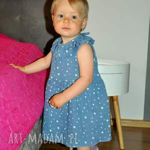 majtusie muślinowa sukienka w gwiazdki