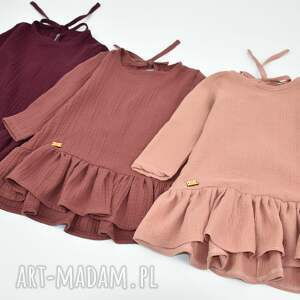 handmade zfalbana muslinowa sukienka z falbana wiazana kokarda