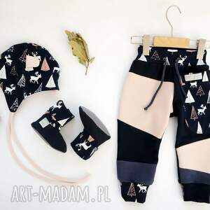 dres ubranka różowe patch pants spodnie 74 - 98 cm