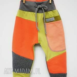 żółte ubranka bawełna patch pants spodnie 104 - 152 cm
