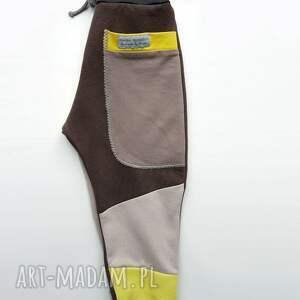 Mimi Monster święta upominekpatch pants spodnie 74 - 104 cm żółty & szary dla niemowlaka
