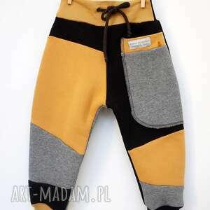 żółte ubranka do-szkoły patch pants spodnie 104 - 152 cm