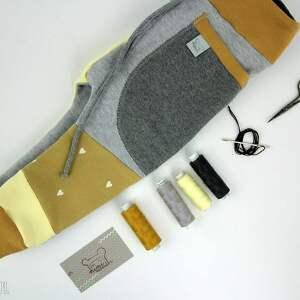 żółte ubranka dres patch pants - eco dresik dziecięcy