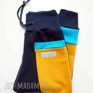 turkusowe ubranka dres patch pants spodnie 104- 152 cm