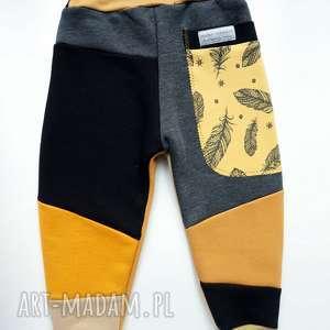 spodenki ubranka szare patch pants spodnie 104- 152 cm