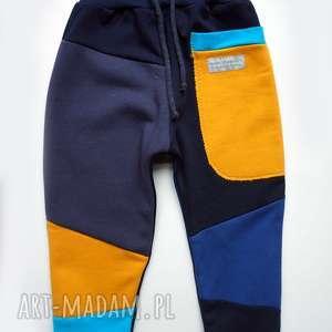 ciepłe-spodnie ubranka niebieskie patch pants spodnie 104 - 152 cm