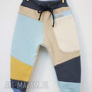 dres ubranka żółte patch pants spodnie 74 - 98 cm krem