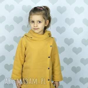 hand-made ubranka płaszcz płaszczyk musztardowy large size