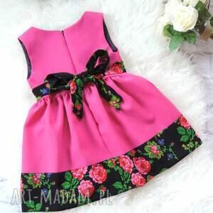 sukienka ubranka różowe różowa folkowa dziecięca