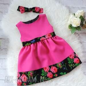 oryginalne ubranka sukienka różowa folkowa dziecięca